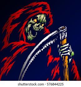 The Grim Reaper. Scary Horror Character. Graphic Design.  Spirit Rock Skull. Ghost Skeleton. Flat Vector Illustration. The Image of Horror.