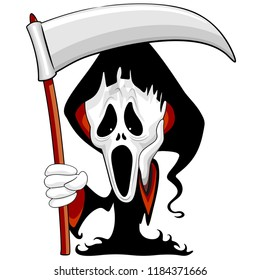 Grim Reaper The Scream Cartoon Character Parody with Black Hooded Cload wielding a Big Scythe.