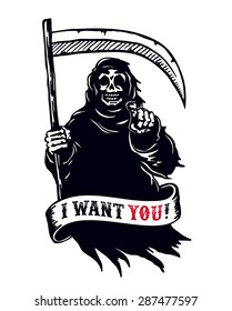 Grim reaper with scythe in dark hooded cloak, death pointing finger. I want you dead! black and white vector