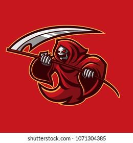 grim reaper with scythe esport gaming mascot logo template