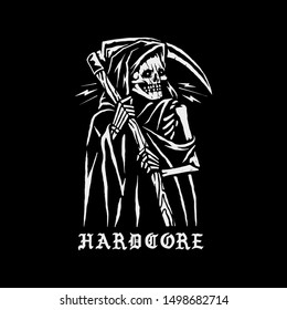 "Grim reaper with a scythe and the inscription ""hardcore"". T-shirt design printing. Vector."