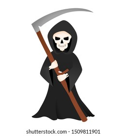 Grim reaper with scythe isolated on white. Halloween skeleton death costume vector