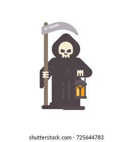 Grim reaper with a scythe an a lantern. Halloween character flat illustration