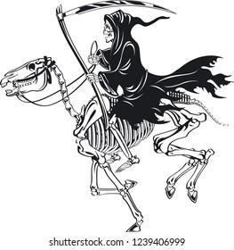grim reaper with scythe riding skeleton horse