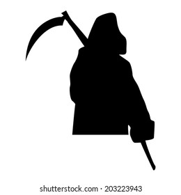 Grim Reaper Silhouette Vector Drawing