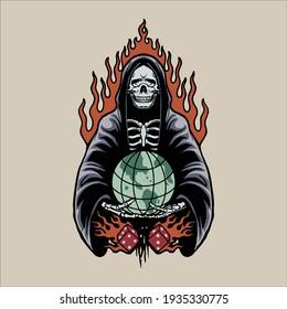 grim reaper tattoo vector design