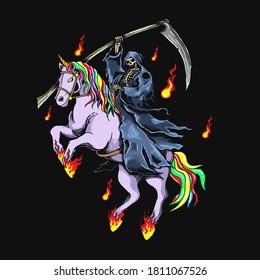 grim reaper with unicorn illustration vector graphic