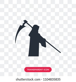 grim reaper vector icon isolated on transparent background, grim reaper logo concept