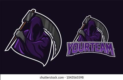 grim reaper/angel of death mascot logo design. Sport logo mascot design