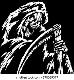 The Grim Reaper.Black and White Colors. Scary Horror Character. Graphic Design. Contour Digital Freehand Outline Drawing. Spirit Rock Skull. Ghost Skeleton. Isolated Flat Vector Illustration.