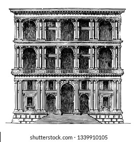 Grimani Palace at Venice A more determined imitation of Roman architecture the productions of San Michele the first half of the sixteenth century this architect had a considerable influence vintage