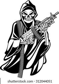grime reaper holding m249 machine gun
