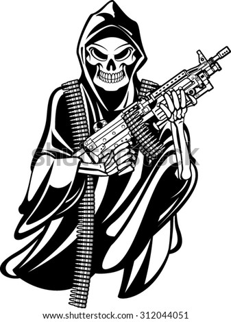 Grime Reaper Holding M 249 Machine Gun Stock Vector