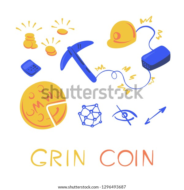 Grin Coin Set Mining Cryptocurrency Pickaxe Stock Vector