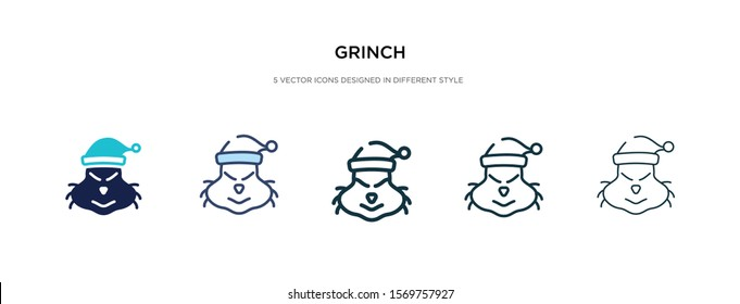 grinch icon in different style vector illustration. two colored and black grinch vector icons designed in filled, outline, line and stroke style can be used for web, mobile, ui