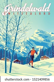Grindelwald Travel Poster with with skier int the first plan, houses, forest and mountains in the background. Handmade drawing vector illustration.