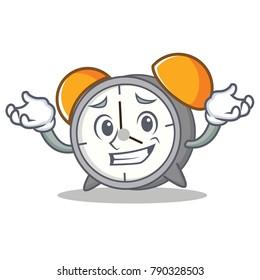 Grinning alarm clock character cartoon