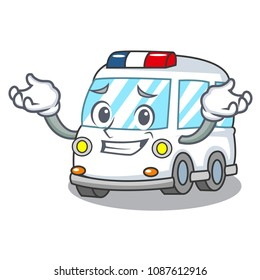 Grinning ambulance character cartoon style