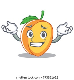 Grinning apricot character cartoon style