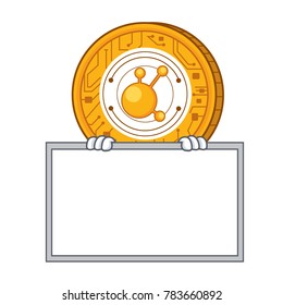 Grinning with board BitConnect coin character cartoon