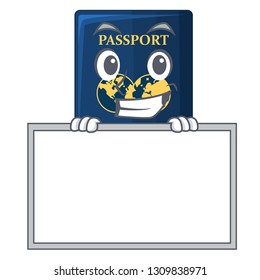 Grinning with board blue passport in the cartoon form