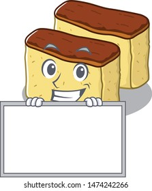 Grinning with board castella cake isolated in the cartoon