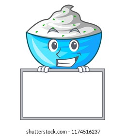 Grinning with board sour cream in a glass bowl cartoon