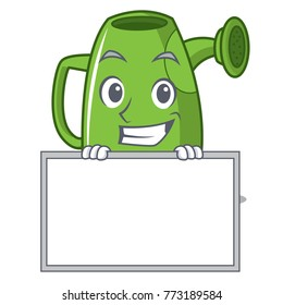 Grinning with board watering can character cartoon