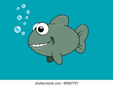 Grinning Fish. Comic style illustration. Plain Illustrator 8.0 compatible .eps file.