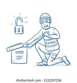 Grinning hacker or thief breaking digital data box open, with open lock icon. Concept for cyber crime, data theft. Hand drawn line art cartoon vector illustration