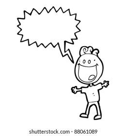 grinning man doodle cartoon