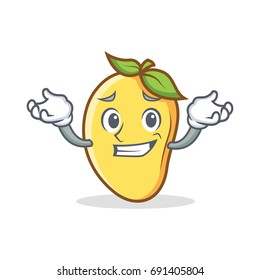 Grinning mango character cartoon mascot vector illustration