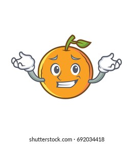 Grinning orange fruit cartoon character