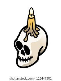 A grinning skull with a lit candle on top.