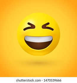 Grinning squinting face emoji with scrunched, X-shaped eyes and a broad, open smile, showing upper teeth - smiling emoticon character design that conveys excitement or hearty laughter