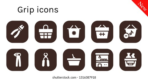 grip icon set. 10 filled grip icons.  Collection Of - Pliers, Basket, Shopping basket, Claw machine