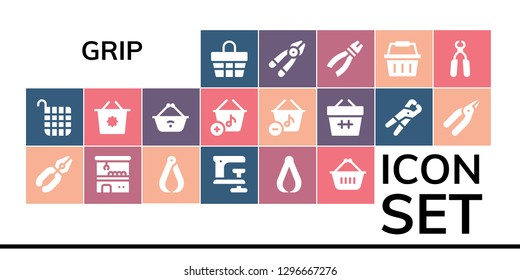 grip icon set. 19 filled grip icons. Simple modern icons about  - Basket, Pliers, Claw machine, Clamp, Shopping basket, Plier