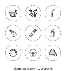 Grip icon set. collection of 9 outline grip icons with basket, clamps, hand grip, pliers, shopping basket icons. editable icons.