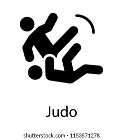 A gripping icon for judo where two judoka performing martial art fighting