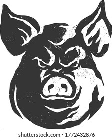 Gritty Rustic Head of Aggressive Pig