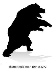 A grizzly bear animal silhouette illustration