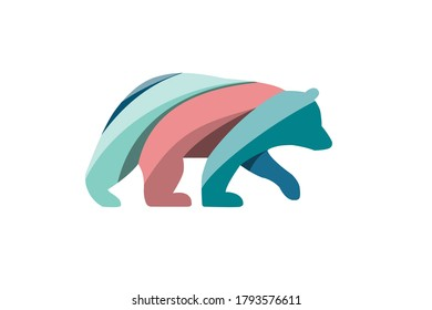 Grizzly Bear. Arctic bear logo insulated against a white background vintage vector design element illustration.