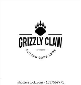 Grizzly bear claw Logo Vintage illustration . Wild Claw Logo