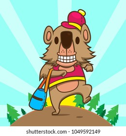 grizzly bear happy funny walk jungle cartoon character design vector