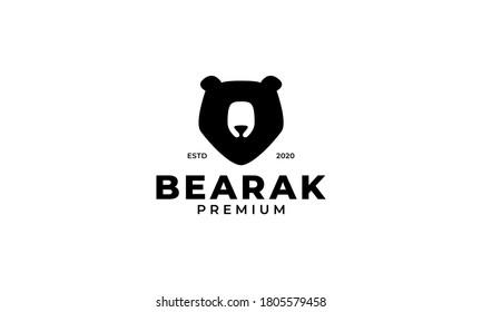 Grizzly bear or honey bear or polar bear head face silhouette logo design icon