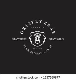 Grizzly Bear Logo line Vintage . web design . Grizzly Bear outline Logo vector icon . Wild animals symbol, logo illustration.
