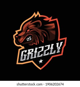 Grizzly bear mascot for esport and sport logo isolated Premium Vector