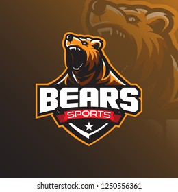 Grizzly bear mascot logo design vector with a modern color concept and badge emblem style for sports team. Angry bear illustration tshirt printing.
