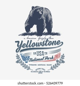 Grizzly bear, national Park Yellowstone, illustration, vector, blue color