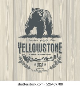 Grizzly bear, national Park Yellowstone, illustration, vector, on wooden background